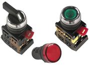 Светосигнальные индикаторы,  кнопки управления и переключатели.