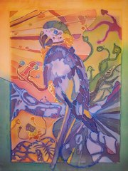 попугай в стиле батик
