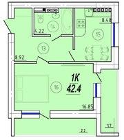 1к квартира с возможностью перепланировки в 2х комнатную