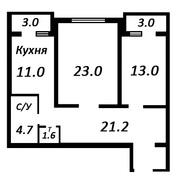 Уникальный проект. 2х комнатная квартира 82 кв метра