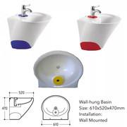 Дизайнерский умывальник 60см моноблок литой желтый,  синий,  красный,